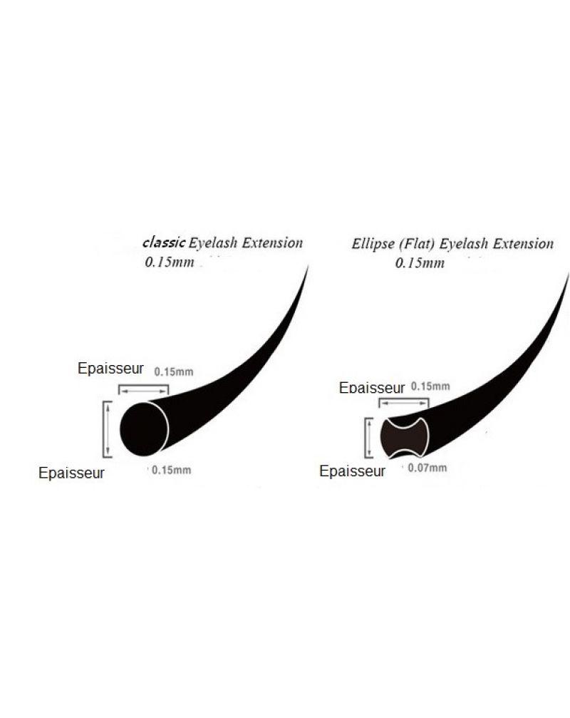 Cils en soie pour les extensions, longueur unique 13mm flat ellipse
