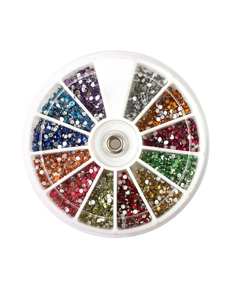 Carrousel de strass 3mm rond multicouleurs nail art pour ongles