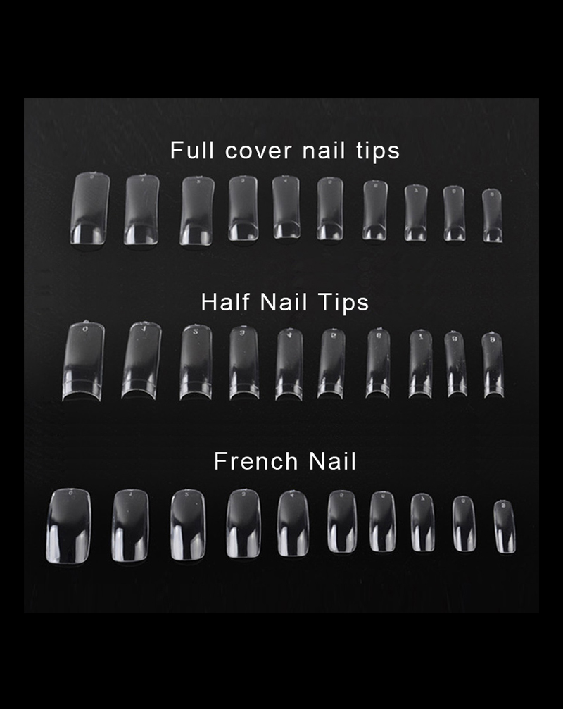Capsules tips pour modelage faux ongles 500 tips